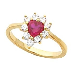 14K Yellow Gold Ruby and Diamond Heart Ring