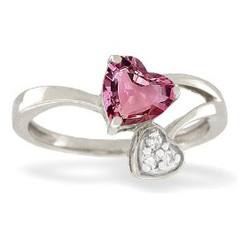 14K White Gold Genuine Heart Pink Tourmaline and Diamond Ring