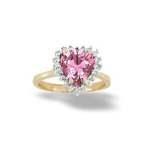 14K Yellow or White Gold Openwork Heart Trio Gemstone and Diamond Ring-Pink Sapphire-full, half sizes from 5-8.5