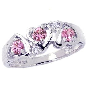 14K Yellow Gold Heart Created Pink Sapphire and Diamond Ring