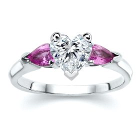 Heart Pink Diamond with Sapphire Ring