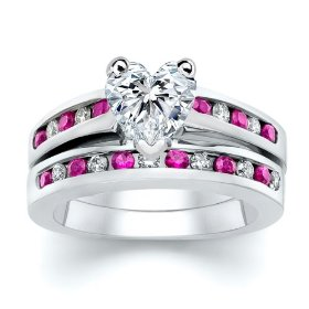 Hear Pink Diamond with Sapphire Ring-Set