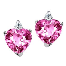 Heart Pink Sapphire and Genuine Diamond Earrings