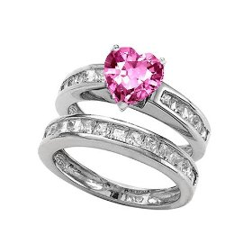 Heart Shape Pink Sapphire Wedding Set