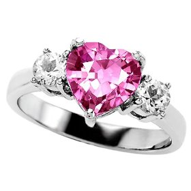 Heart Pink Sapphire and Genuine Diamond Engagement Ring