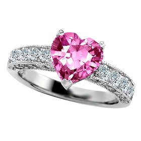 Heart Pink Sapphire and Genuine Diamond Engagement Rings
