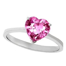 Heart Pink Saphire and Solitaire Engagement Ring
