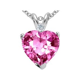 Heart Pink Sapphire and Genuine Diamond Pendant