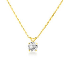 No1 diamond city 14k yellow gold 12 ct diamond solitaire pendant with 18 chain aloadofball Images