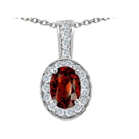 1.84 cttw Genuine Oval Garnet and Diamond Pendant - 14kt White or Yellow Gold