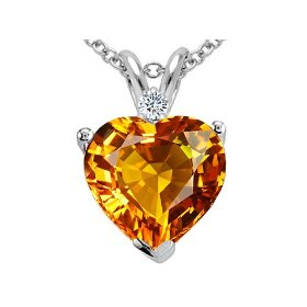 1.92 cttw Genuine Citrine and Diamond Heart Pendant - 14kt White or Yellow Gold