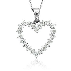 14k White Gold Heart Diamond Pendant Necklace (GH, SI-I, 0.50 carat)