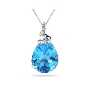 Blue Topaz and Diamond Pendant (White Gold)