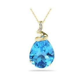 Blue Topaz and Diamond Pendant (Gold)