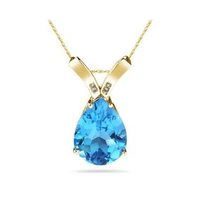 Blue Topaz and Diamon Pendant (Gold)