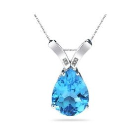 BLue Topaz and Diamon Pendant (White Gold)