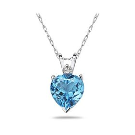 Beart Blue Topaz and Diamond Pendant