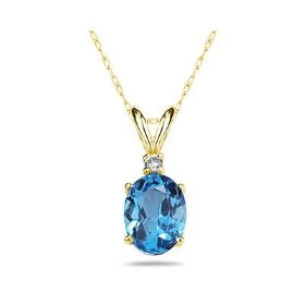 Oval Blue Topaz and Diamond Stud Pendant