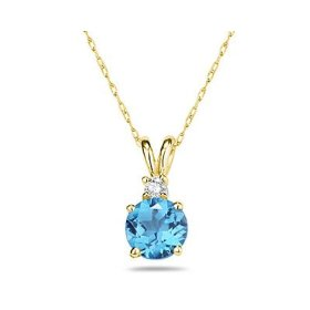 Round Blue Topaz and Diamond Stud Pendant