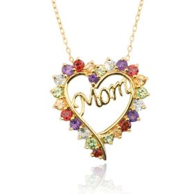 "Yellow Gold Overlay Sterling Silver Multi-Gemstone ""Mom"" Heart Pendant"